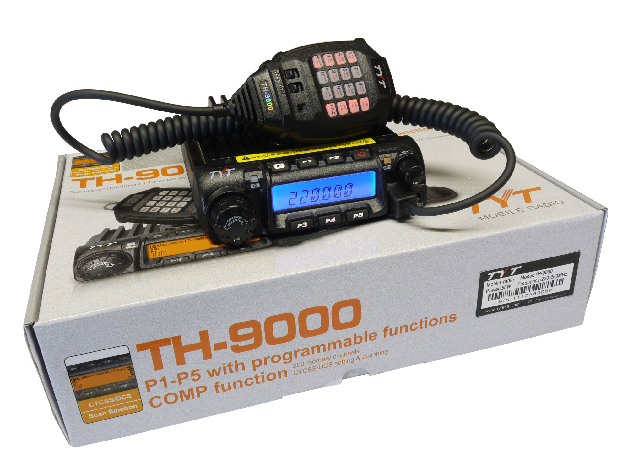 TYT TH-9000D 220MHz 55 Watts Mobile Transceiver
